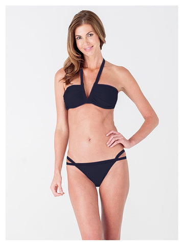 Lori Coulter Women's Black Halter, V Neck Swimsuit Bikini Top with Ruching and Back Clasps