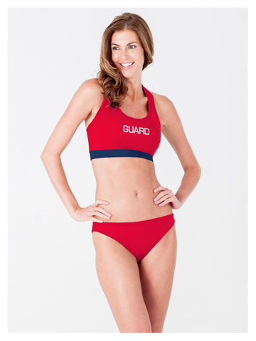 Lori Coulter Women's Lifeguard Sports Bra Bikini Swimsuit Top Red and Navy Blue
