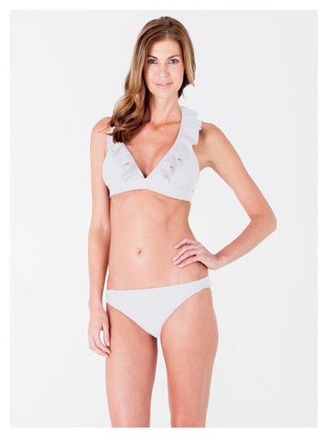 Lori Coulter Women's Cream Halter Tie Neck Swimsuit with Ruffles and Deep V Neckline