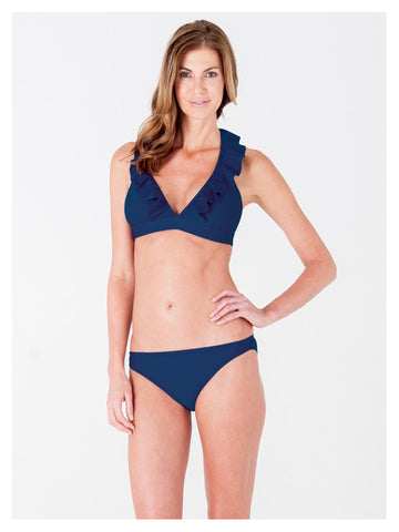 Lori Coulter Women's Navy Blue Halter Tie Neck Swimsuit with Ruffles and Deep V Neckline