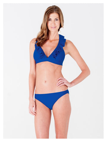 Lori Coulter Women's Royal Blue Halter Tie Neck Swimsuit with Ruffles and Deep V Neckline