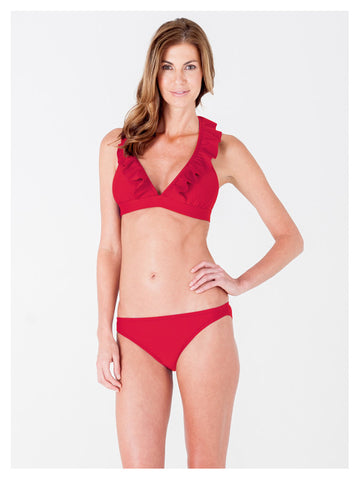 Lori Coulter Women's Red Halter Tie Neck Swimsuit with Ruffles and Deep V Neckline