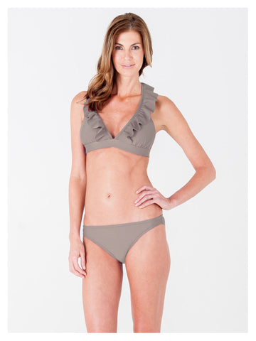 Lori Coulter Women's Taupe Halter Tie Neck Swimsuit with Ruffles and Deep V Neckline