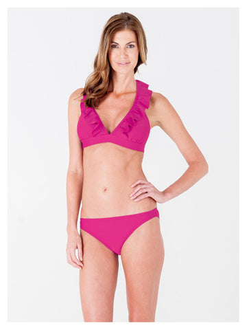 Lori Coulter Women's Pink Halter Tie Neck Swimsuit with Ruffles and Deep V Neckline