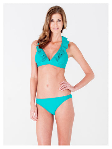 Lori Coulter Women's Turquoise Halter Tie Neck Swimsuit with Ruffles and Deep V Neckline
