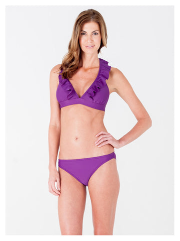 Lori Coulter Women's Purple Halter Tie Neck Swimsuit with Ruffles and Deep V Neckline