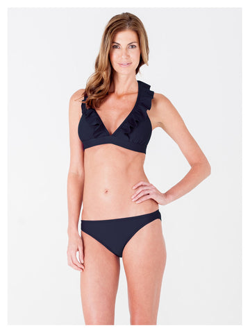 Lori Coulter Women's Black Halter Tie Neck Swimsuit with Ruffles and Deep V Neckline