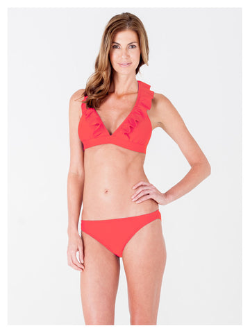 Lori Coulter Women's Neon Orange Halter Tie Neck Swimsuit with Ruffles and Deep V Neckline