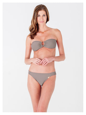 Lori Coulter Women's Taupe Bandeau Bikini Top Swimsuit with Center Metallic Cutout