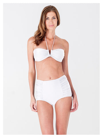 Lori Coulter Women's Cream Halter Tie Neck Swimsuit with a V Front Opening