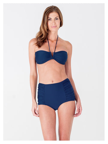Lori Coulter Women's Navy Blue Halter Tie Neck Swimsuit with a V Front Opening