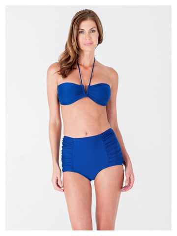 Lori Coulter Women's Royal Blue Halter Tie Neck Swimsuit with a V Front Opening
