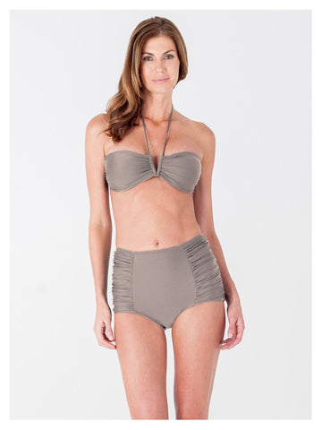 Lori Coulter Women's Taupe Halter Tie Neck Swimsuit with a V Front Opening