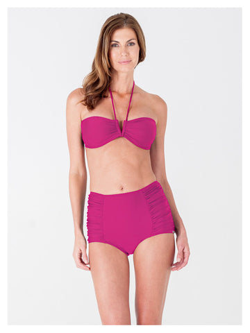 Lori Coulter Women's Pink Halter Tie Neck Swimsuit with a V Front Opening