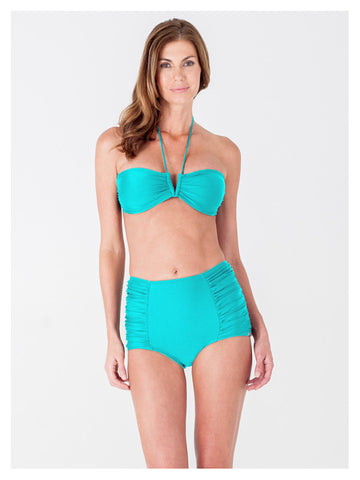 Lori Coulter Women's Turquoise Halter Tie Neck Swimsuit with a V Front Opening