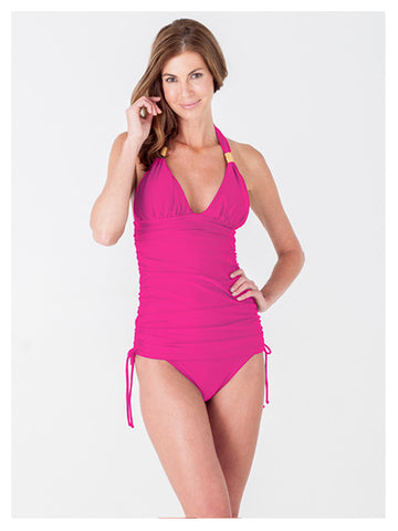Lori Coulter Women's Pink V Neck Shirred Halter Long Length Tankini Swimsuit Top With Adjustable Side Ties