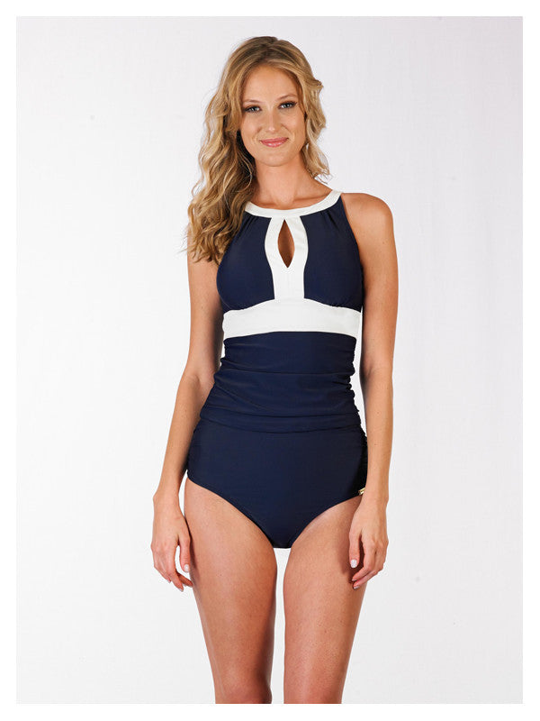 Lori Coulter Women's Navy Blue and Cream Color Blocked High Neck Key Hole Tankini Swimsuit Top