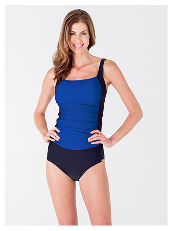 Lori Coulter Women's square neck ruched color blocked tankini swimsuit top royal blue