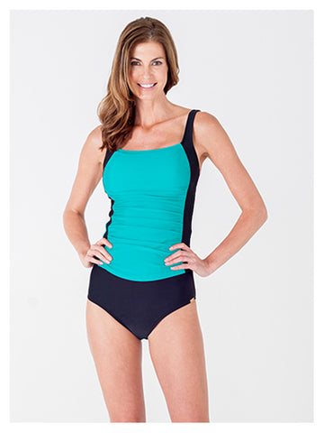Lori Coulter Women's square neck ruched color blocked tankini swimsuit top turquoise and black