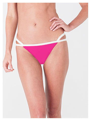 Lori Coulter two tone pink and cream banded bikini bottom with criss cross strappy detail