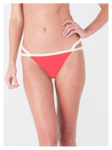 Lori Coulter two tone neon coral and cream banded bikini bottom with criss cross strappy detail