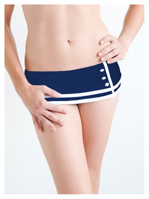 Lori Coulter Women's Navy and Cream Color Blocked Retro Nautical Skirted Low Rise Bikini Swimsuit Bottom