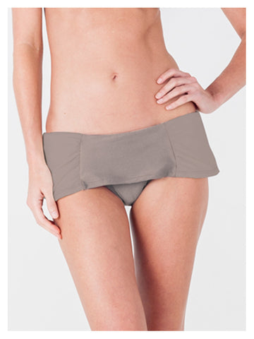 Lori Coulter Women's Taupe Retro Shirred Skirted Low Rise Bikini Swimsuit Bottom