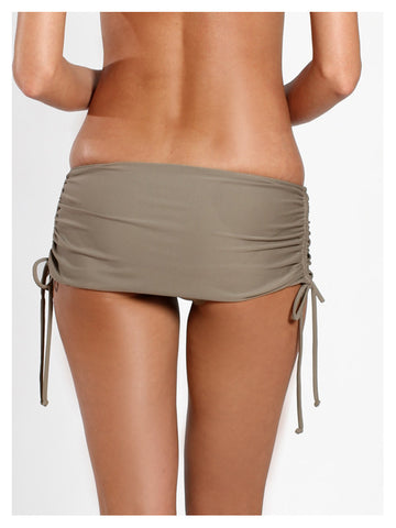 Lori Coulter Women's Taupe Skirted Swimsuit Bottom with Side Shirring, Adjustable Ties and Built-in Low-rise Bottom