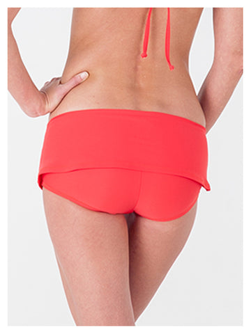 Lori Coulter Women's Neon Coral Hipster Skirt Swimsuit Bottom with Built-in Hot Pant and gold Metallic Detail