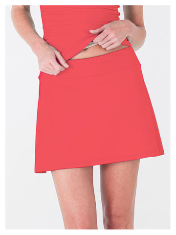 Lori Coulter Women's Neon Coral A Line Skirt Swimsuit Cover Up
