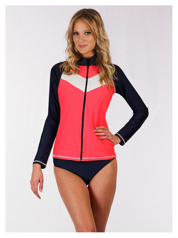 Lori Coulter Women's Black / Neon Coral Zip Sunshirt / Rashguard Jacket and Swimsuit Cover-up