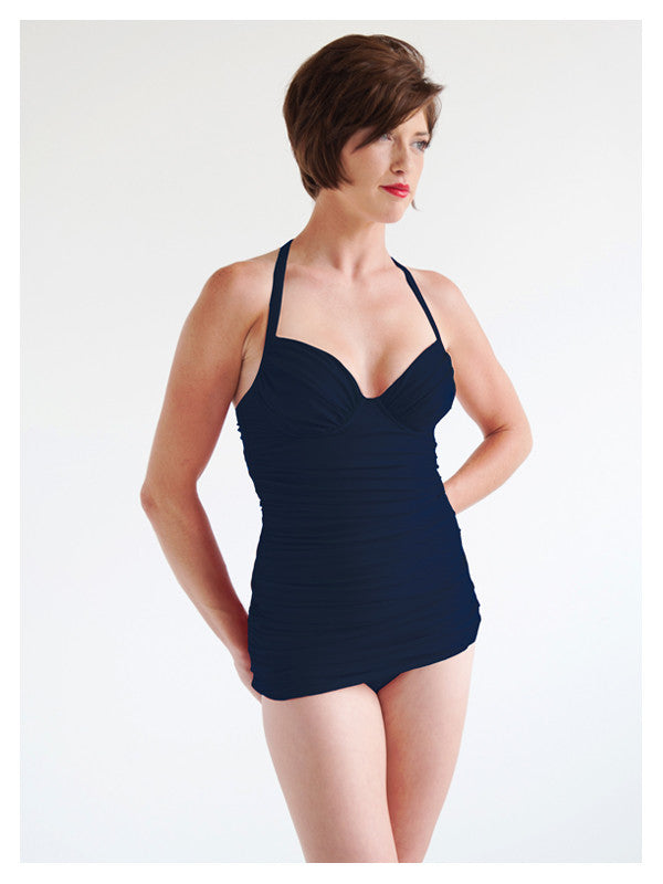 Lori Coulter Women's Navy Blue Shirred Long Tankini with Tie Neck, Padded Cup, and Underwire