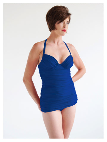 Lori Coulter Women's Royal Blue Shirred Long Tankini with Tie Neck, Padded Cup, and Underwire