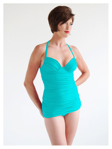 Lori Coulter Women's Turquoise Shirred Long Tankini with Tie Neck, Padded Cup, and Underwire