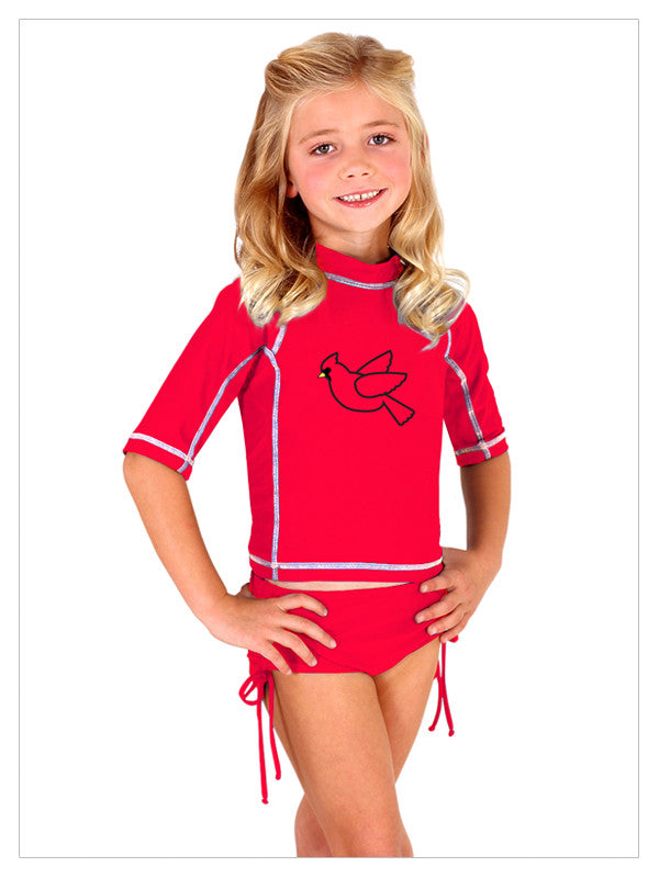 Lori Coulter Child's Cardinal Swim Shirt Rashguard