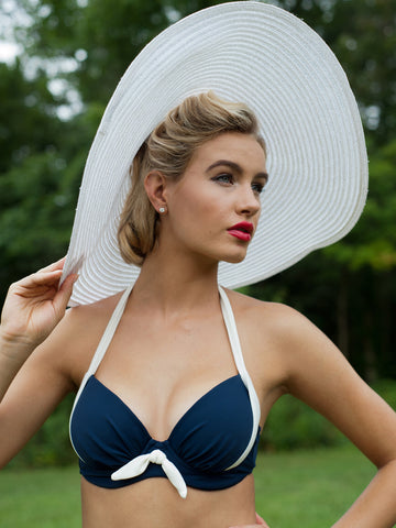 The Joni Colorblocked Retro Molded Bikini Top - DD-DDD