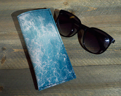 Ocean Waves - Printed Leather Eyeglasses Case Wholesale