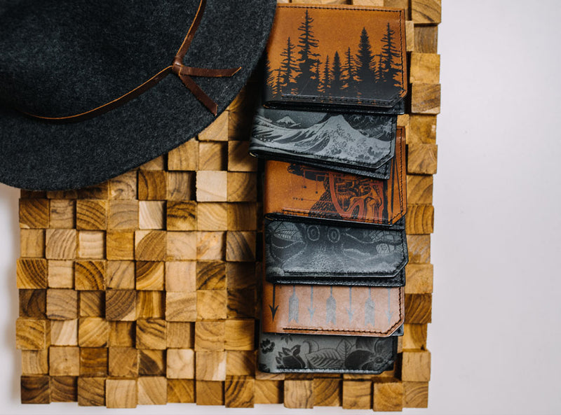 Faded Mountains - Printmaker Leather Wallet