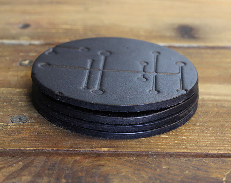 Black Crossed Dot Coasters