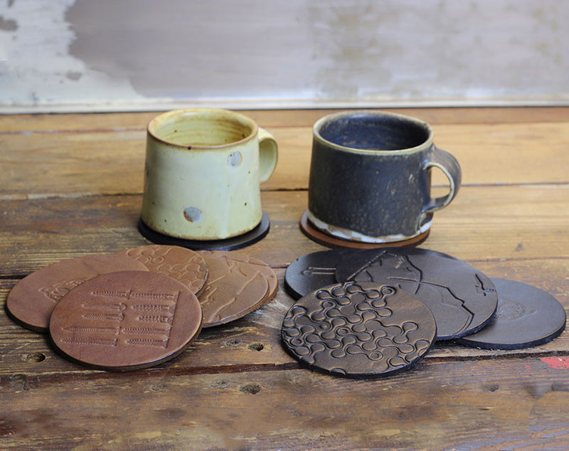 Brown Crossed Dot Coasters (Set of Four)