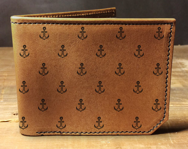 Anchor Pattern - Printmaker Leather Wallet