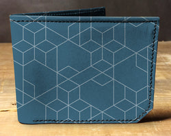 Geometric Blue - Spectrum Leather Wallet