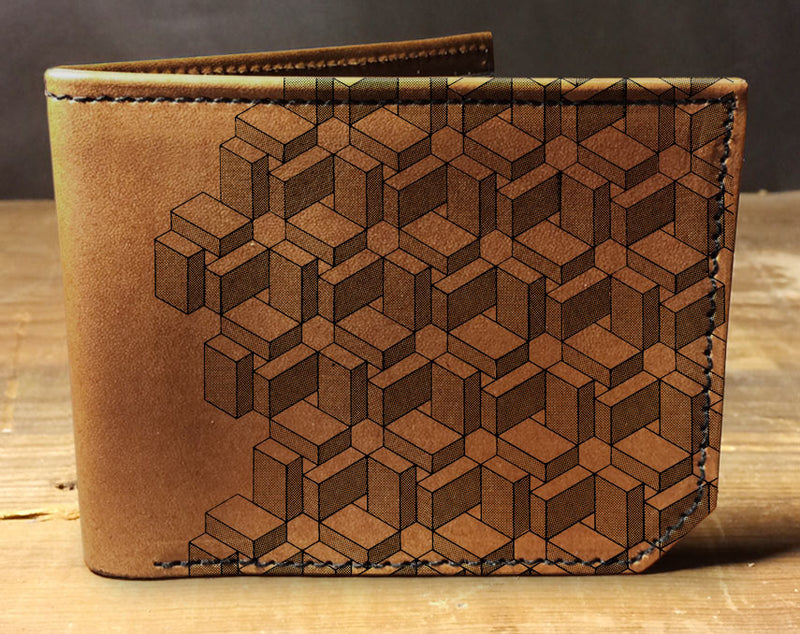 Box Pattern - Printmaker Leather Wallet
