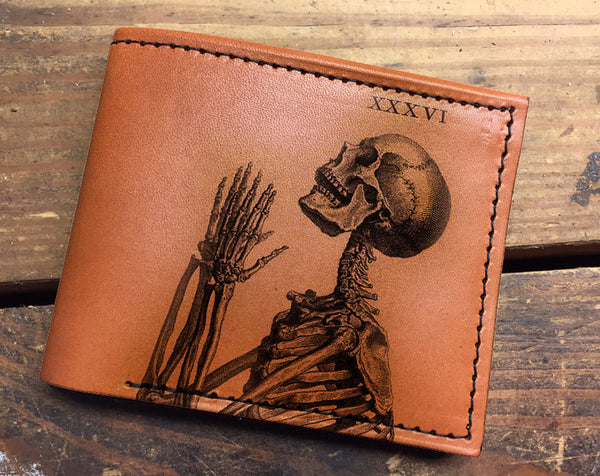 Compact Bi-Fold - Skeleton Pray Leather Wallet