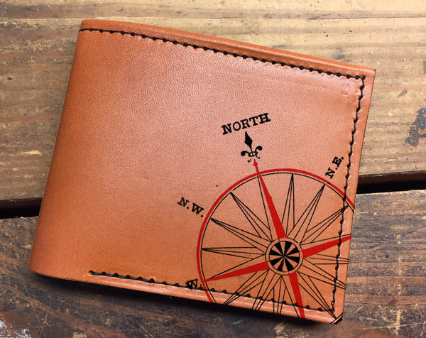 Compact Bi-Fold - Compass Leather Wallet
