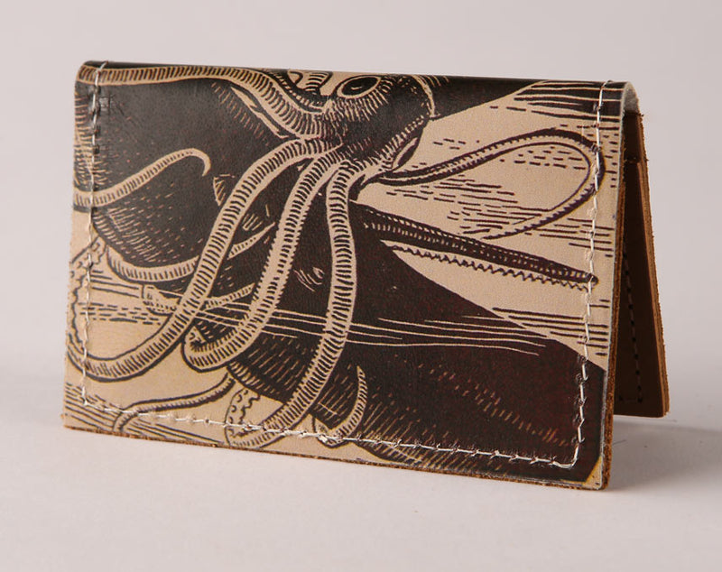 Squid Attack - Leather Cardholder Wallet