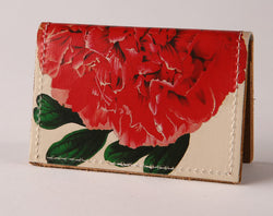 Red Flower - Leather Cardholder Wallet