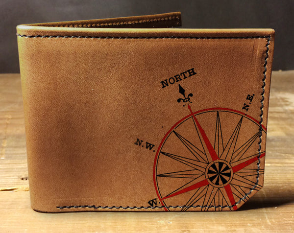 Compass - Printmaker Leather Wallet