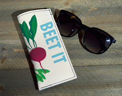 Beet It - Printed Leather Eyeglasses Case