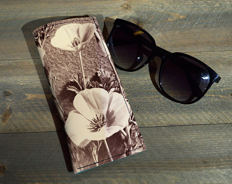 Duo Flowers - Printed Leather Eyeglasses Case Wholesale